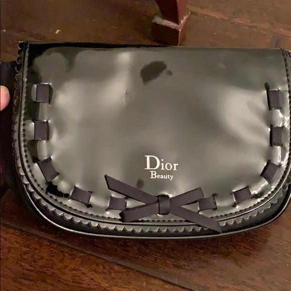 Dior Beauty Black Patent Clutch w/ Bow & Insert